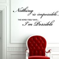 Nothing is Impossible Word Art ~ Wall sticker / decals